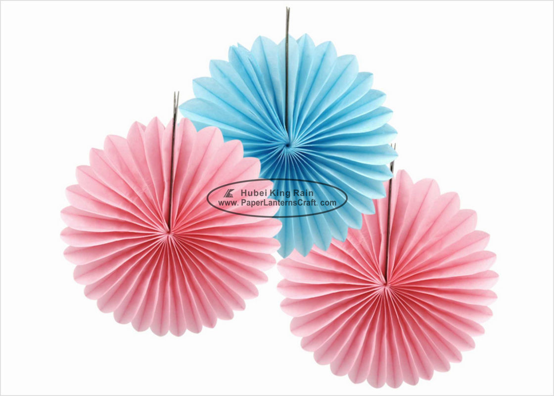 Colorful Handmade Tissue Paper Hanging Fans 20cm 30cm 40cm For Festival Activities