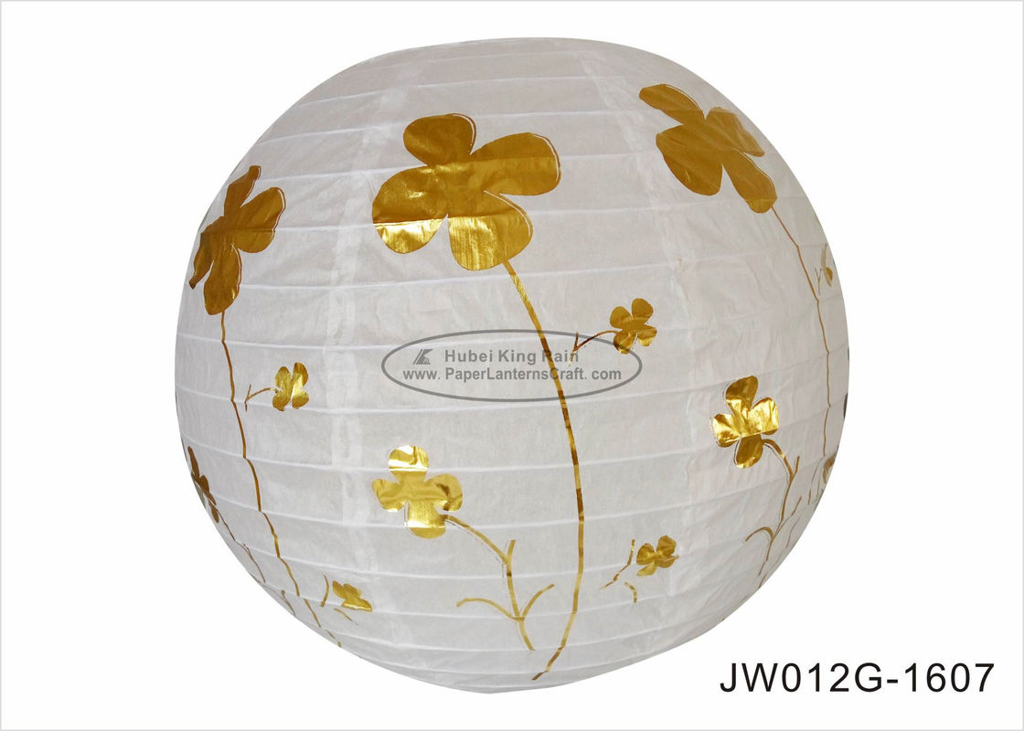 Anniversary Ceremony 12 Inch Round Paper Lanterns With Hot Foil Gold Flowers