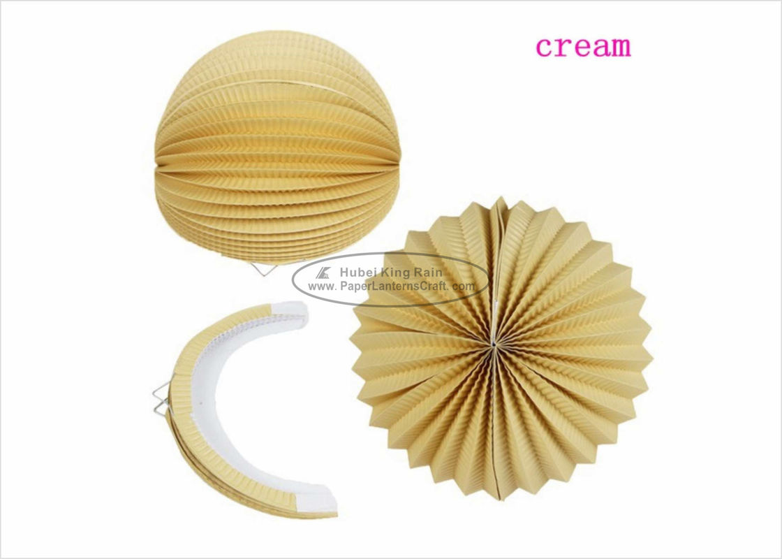 "8"" 10"" Cream Ball Paper Lanterns Decoration Solid Color For Amusement Park"