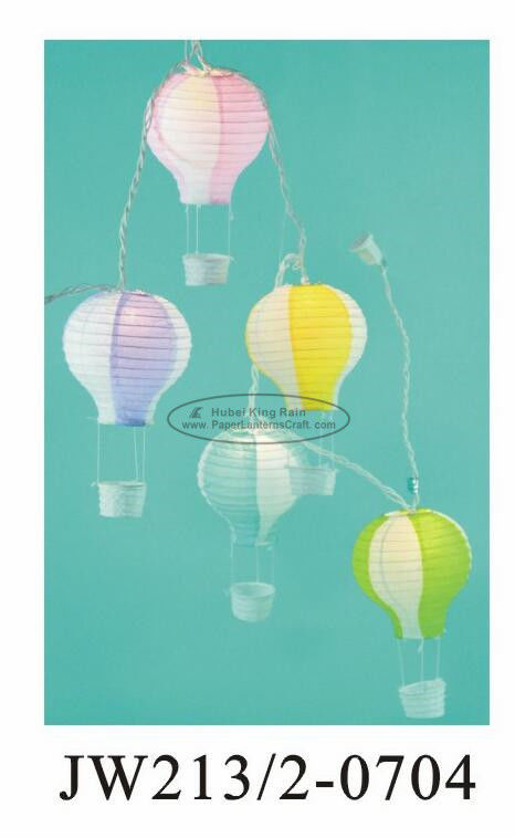 Hot Air Flying Lantern Paper Hot Air Balloon With Light Blue Pink String Print 13 X 22 Cm