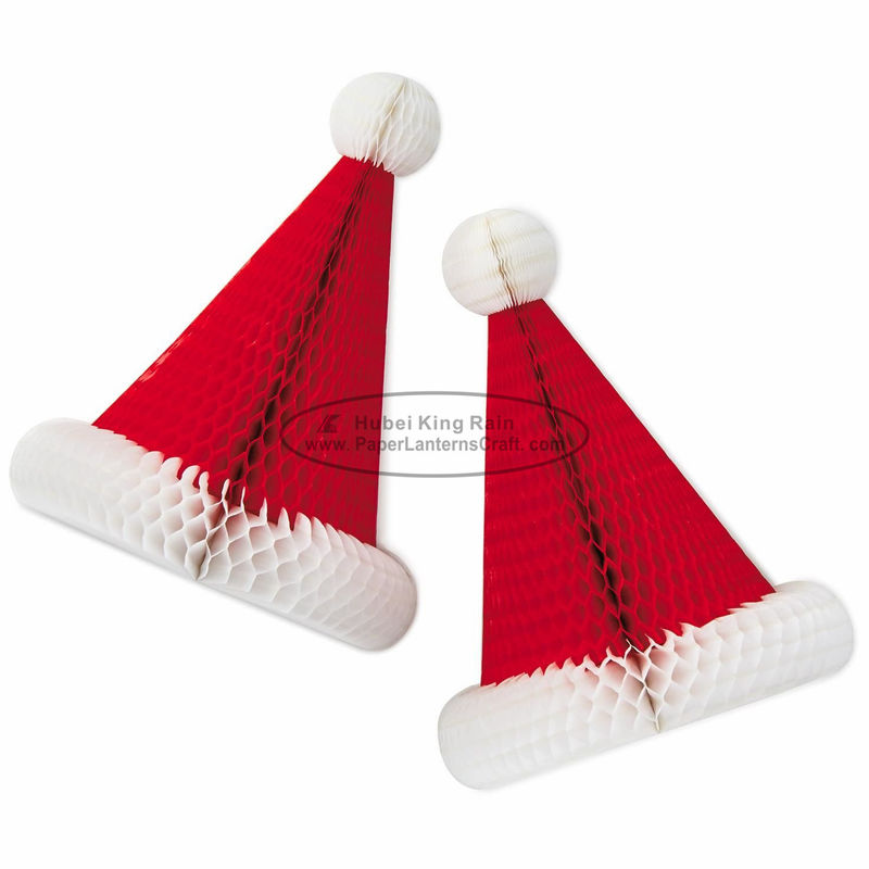 Handmade Craft Honeycomb Xmas Decorations With Christmas Hat Shaped