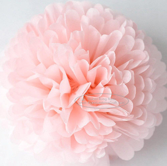 Light Pink Party Decoration Paper Flower Tissue Paper Pom Poms Balls Craft