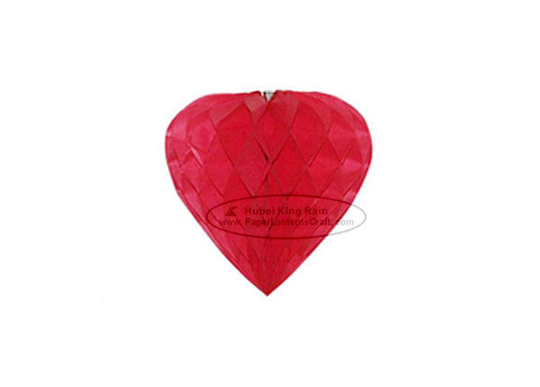 Red Heart Paper Honeycomb Balls Tissue Paper Pom Poms Decorations
